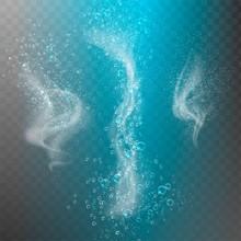 Blue Underwater Fizzing Air Bubbles Flow On Transparent Background. Fizzy Sparkles In Water, Sea, Aquarium, Ocean. Soda Pop. Undersea Vector Texture.