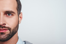 Close-up Half Face Portrait Of...