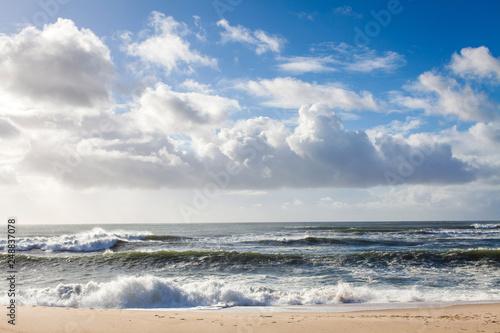 Canvas beach on the atlantic ocean in Portugal