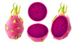 Isolated dragonfruit. Collection of whole and cut red-fleshed pitahaya fruits isolated on white background with clipping path