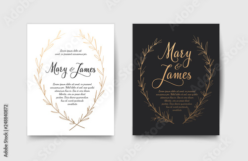 Fotografie, Obraz  Set of Wedding Invitations with Hand Drawn Laurel Wreaths