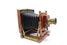 Vintage Antique Old Fashioned Camera On White Background