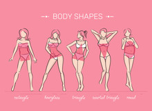 Woman Body Shapes. What Is Your Body Shape. Vector Illustration Of Girls' Figures. Women In Bathing Suits.