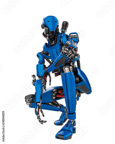 mega blue robot super drone in a white background Wallpaper Mural