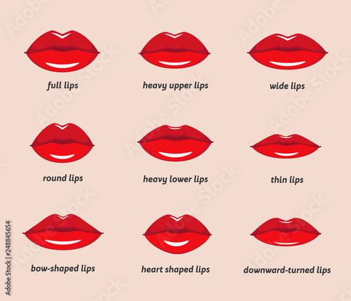 Canvas Print Various types of woman lips