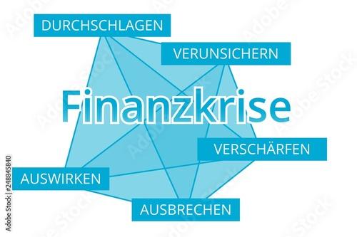 Fotografía  Finanzkrise - Begriffe verbinden, Farbe blau
