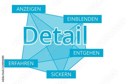 Fotografiet  Detail - Begriffe verbinden, Farbe blau