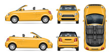 Small Yellow Convertible Car Vector Mockup