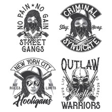 Criminal Theme Monochrome Labels Set With Hand Drawn Illustrations Of Bandit Girl, Skull, Knives, Revolvers, Baseball Bats. Isolated On White Background.