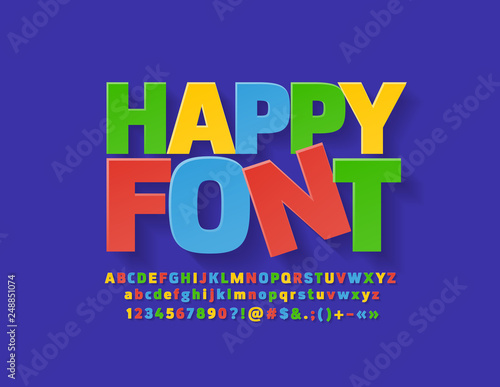 Photo Vector flat colorful Happy Font