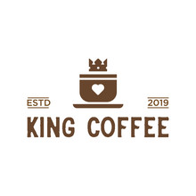 King Coffee Vintage Logo Design Inspiration In Brown Color