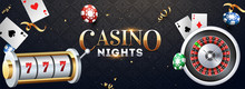 Realistic Slot Machine With Roulette Wheel, Casino Chips And Playing Cards Illustration On Abstract Background For Casino Night Party Banner Design.