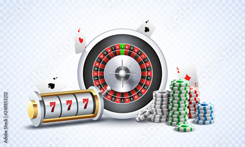 Fotografie, Obraz  Realistic slot machine with roulette wheel, casino chips and playing cards illustration on white png background for gambling night party concept