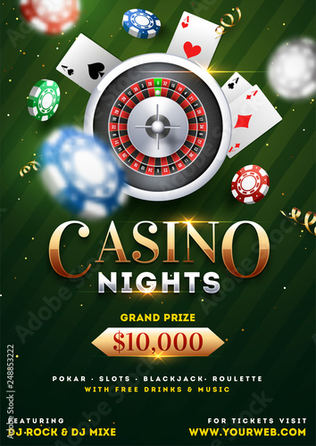 Fotografia Casino Night party template design with realistic roulette wheel, playing cards and casino chips illustration on green background