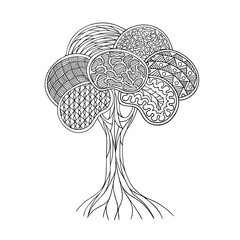 Contour hand drawing zendoodle tree. Stylization and fantasy. Black and white isolated vector illustration. Coloring book for children and adults.