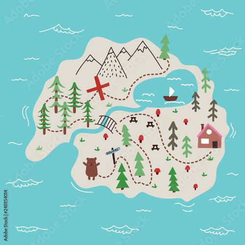 Obraz na plátně Vector island map doodle illustration