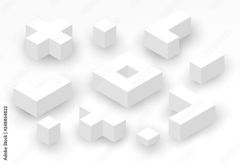 Fototapeta Abstract isometric background with white geometric shapes. Minimalistic modern composition. Vector illustration.