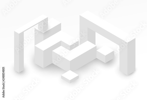 Abstract isometric background with white geometric shapes Fototapete
