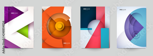 Photo Set of minimal template in paper cut style design for branding, advertising with abstract shapes