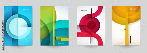 Foto Set of minimal template in paper cut style design for branding, advertising with abstract shapes