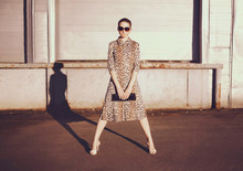 Fashionable Confident Woman In Dress With Leopard Print, Female Model Holding Handbag Clutch Posing Evening Casts A Shadow On City Street Background