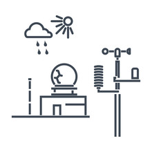 Thin Line Icon Weather Station...