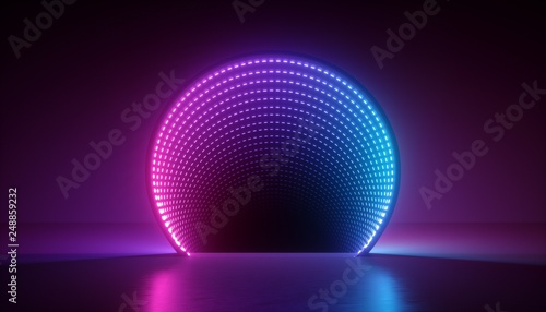 Photo  3d render, abstract ultraviolet background, pink blue neon light, round shape, p