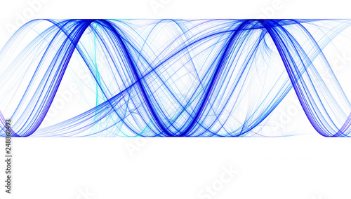 Cadres-photo bureau Abstract wave Blue sinusoids with identical amplitude on white background