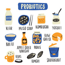 Probiotic Food Set. Hand Drawn Illlustration In Doodle Style. Vector