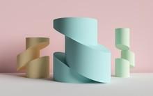 3d Render, Abstract Background, Cut Cylinders, Primitive Geometric Shapes, Pastel Color Palette, Simple Mockup, Minimal Design Elements