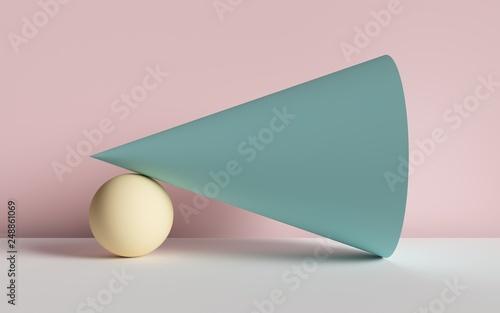 Fotografia  3d render, abstract background, cone, ball, primitive geometric shapes, pastel c