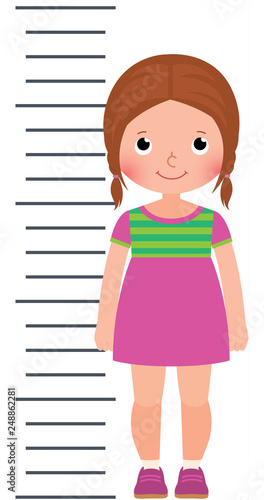 Fotografía  Little cute girl measuring height vector illustration