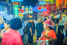 Bangkok, Thailand - March 2, 2017:  Tourists And Backpackers Visited At Khao San Road Night Market. Khao San Road Is A Famous Low Budget Hotels And Guesthouses Area In Bangkok.