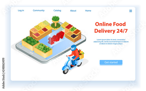Courier Delivers Food by Motorcycle  Internet Food Store