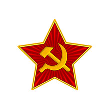Badge Of Soviet Union Red Star With Hammer And Sickle. Symbol Of The USSR Army. Vector Illustration. Isolated On White Background.