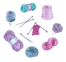 Clipart Set Of Wool Yarns, Kni...