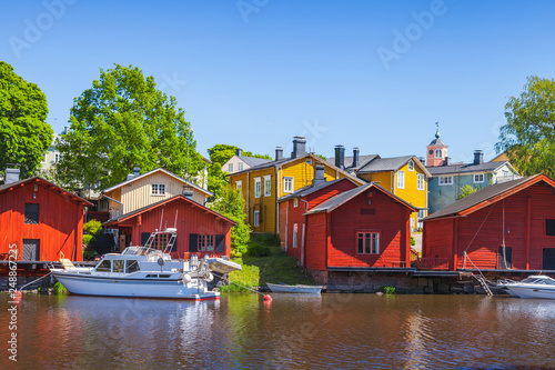 Red wooden houses of Porvoo town