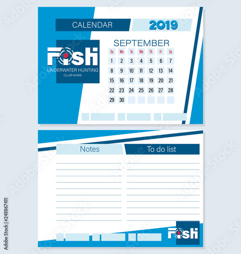 Calendar Planner September 2019.Calendar Planner For September 2019 Fish Underwater Hunting Set