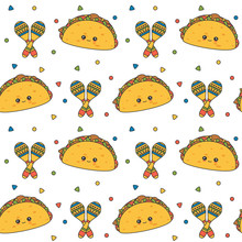 Cute Lovely Cartoon Seamless Vector Pattern Background Illustration With Mexican Tacos And Maracas