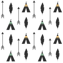 Cute Feathers, Arrows And Teepee Ethnic Tribal Seamless Vector Pattern Background Illustration