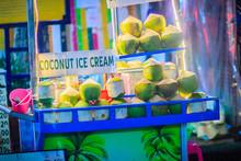 Bangkok, Thailand - March 2, 2017:  Street Food Vendor Selling Coconut Ice Cream At Khao San Road Night Market, Bangkok, Thailand.