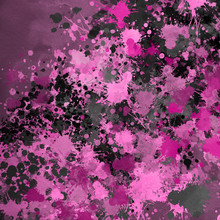 Pink Paint Splatter Effect Texture On Gray Paper Background. Artistic Backdrop. Different Paint Drops. Rusted Metal.