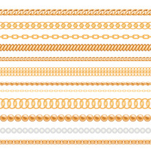 Set Of Gold Chains And Ropes Isolated On White. Seamless Brushes For Design.