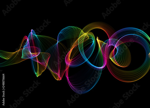 Staande foto Fractal waves abstract colorful wavy smoke flame over black background