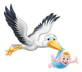 Obraz na SzkleA stork or crane cartoon bird flying through the sky carrying a new born baby as in the pregnancy myth.