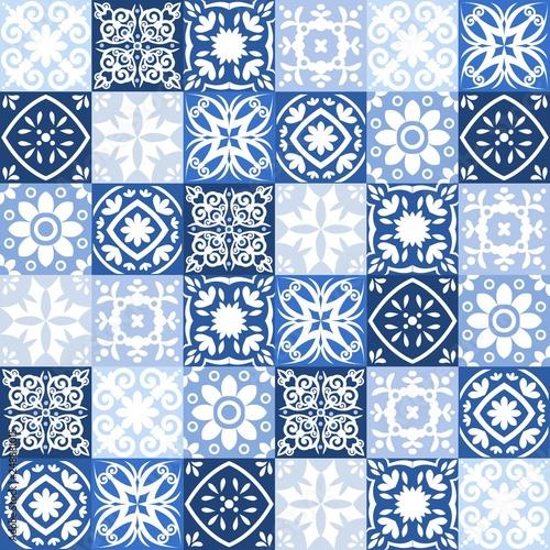 Fototapeten Künstlich Blue Portuguese tiles pattern - Azulejos vector, fashion interior design tiles