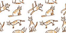 Funny Red Tabby Cat Seamless Pattern. Wax Crayon Like Child`s Hand Drawn Cute Kitten Clip Art Set. Pastel Chalk Or Pencil Kids Line Art Stroke Sitting, Flying Cats. Vector Artistic Doodle Simple Pets