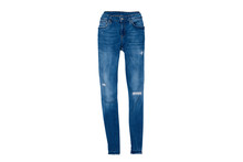 Blue Ripped Jeans Flat Lay. Fa...