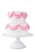 White Wedding Cake With Pink E...