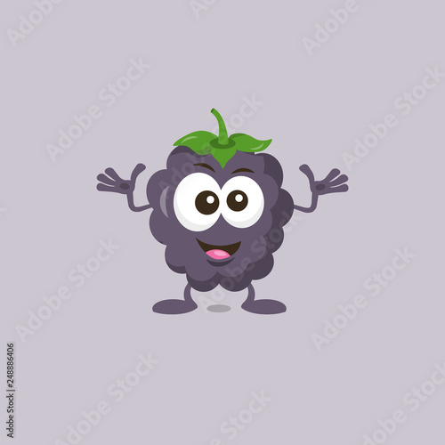 Illustration of cute decisive dewberry mascot recommends with big smile isolated on light background Tapéta, Fotótapéta